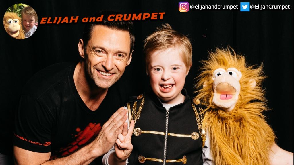 Elijah and Crumpet meeting Hugh Jackman